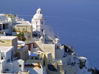 A view of Fira, Santorini, Greece. Houses and sea