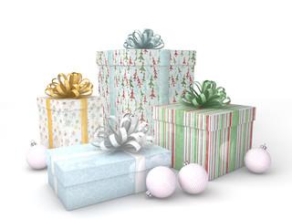 3d Rendering Geschenk mit Christbaumkugel Weihnachtsmuster
