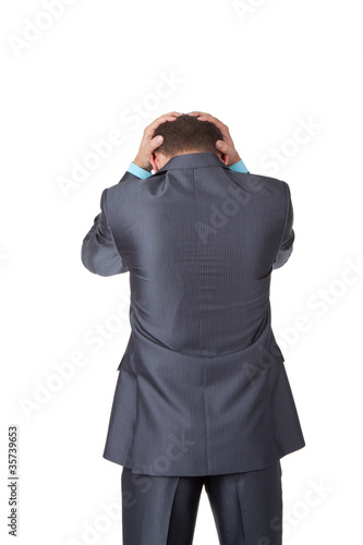 Business men back stannding over white background
