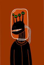 quatre alien yeux avec un casque de verre
