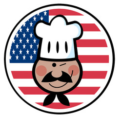 Winking Black Chef Face Over An American Flag Circle
