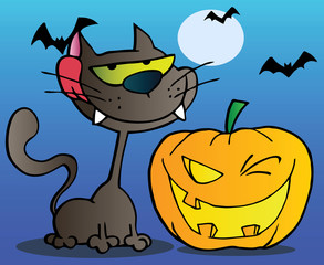 Cat And Winking Halloween Jackolantern Pumpkin With Bats On Blue