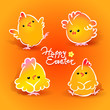 Easter card with four chickens (roosters and hens). Vector
