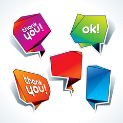 Set of colorful speech bubbles on the white background. Vector