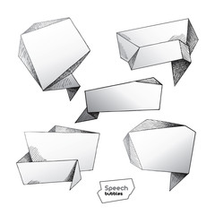 Set of hand drawn speech bubbles. Vector illustration