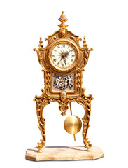 ancient vintage brass pendulum clock