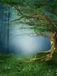 Wiosenna łąka z drzewem i stokrotkami