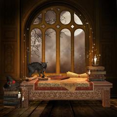 Biurko z magicznymi księgami, zwojami i czarnym kotem