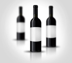 Red wine bottles with label