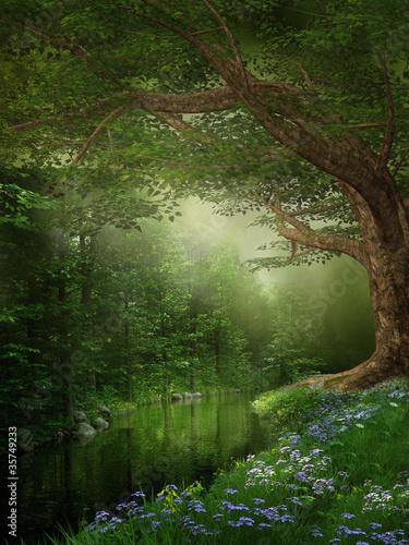 Panel Szklany Rzeka w zielonym lesie