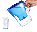 Pouring a glass of purified water poster