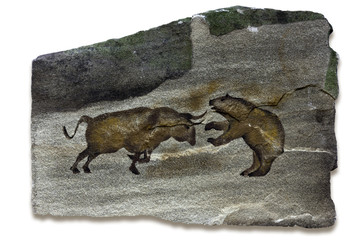 Bull and Bear Markets Cave Painting