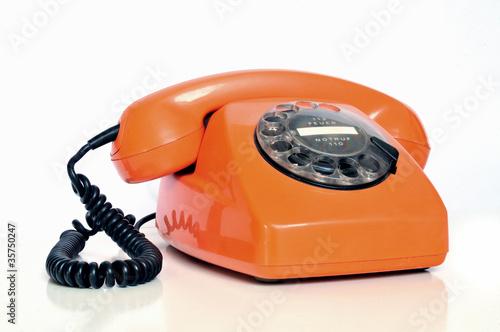 Leinwanddruck Bild Retro Telefon mit Wählscheibe