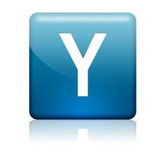 Boton cuadrado azul letra Y