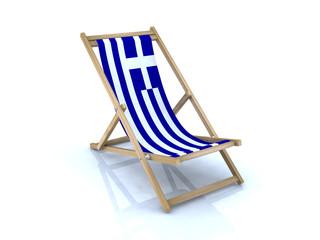 wood beach chair with Greek flag