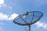 satellite dish and cloudy blue sky background