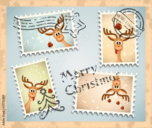 four postage stamps with christmas theme - funny reindeer