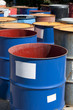 Old colored barrels for oil products