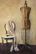 Antique dress form and chair with vintage feeling - 35758045