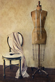 Naklejka Antique dress form and chair with vintage feeling