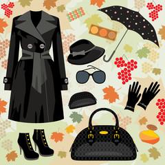 Autumn fashion set. vector