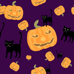 Halloween background black cat and pumkins