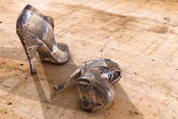 High heels on concrete