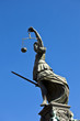 "Statue of Lady Justice ""Justitia"" in front of the Romer in Frank"