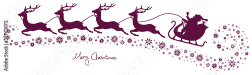 Christmas Sleigh, 4 Flying Reindeers & Snowflakes Purple