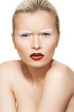 Model with creative eyebrows make-up, dark red lip make-up poster