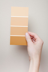 Woman comparing paint swatches to wall color