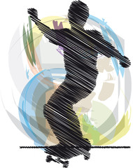 Abstract sketch of skater