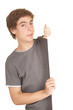 young man holding balnk billboard, white background, series