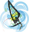 windsurfing illustration. Vector