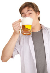 young man with mug of beer, white background, series