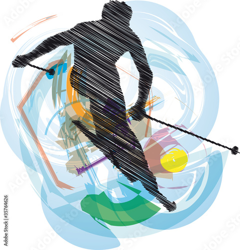Skiing vector illustration.