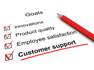 Customer support checklist. Key goals in business