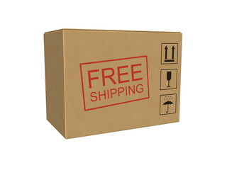 Free shipping cardboard box isolated on the white background