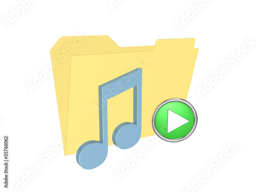3d folder with music note. Isolated on the white background