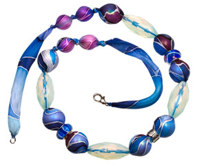 blue textile lady's bead with glass crystals