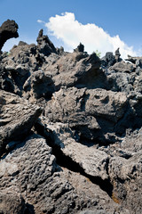 sharp hardened lava rocks close up