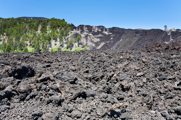 hardened lava flow on volcano slope of Etna, Sicily