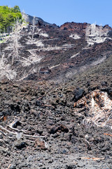 hardened lava flow on slope of volcano Etna, Sicily