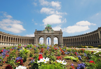 Triumphal Arch in Cinquantennaire Park in Brussels