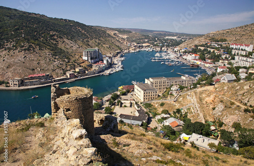 Bird-eye view of Balaklava bay, Crimea, Ukraine