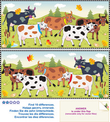 Find the differences visual pictures - cows on a pasture