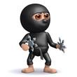 3d Ninja is ready with his shuriken
