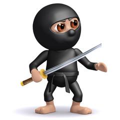 3d Ninja Stands ready with his Katana blade