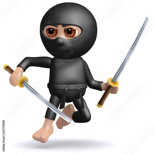 3d Ninja is an expert fighter with two katana swords