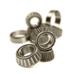 Ball bearings on a pure white background